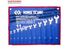 Bộ cờ lê vòng miệng nghiêng 75 độ 11 chi tiết KINGTONY 1271MRN