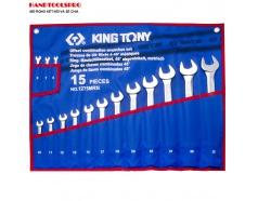 Bộ cờ lê vòng miệng nghiêng 75 độ 15 chi tiết KINGTONY 1275MRN