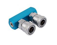 Bộ đầu nối nhanh CYT chia 2 đầu ống hơi khí nén bằng thép SML