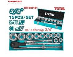 Bộ tuýp và cần mở 3/4 inch 15 chi tiết Total THT341151