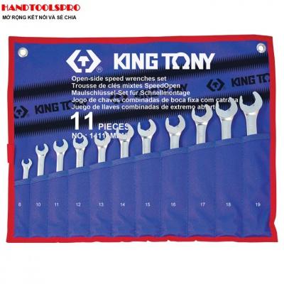 Bộ cờ lê vòng miệng tốc độ nhanh 11 chi tiết 8-19mm Kingtony 14111MRN